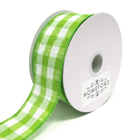 Colorful Gingham Checkered Linen Wired Ribbon, Kiwi, 1-1/2-Inch ...