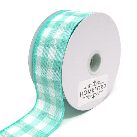 Colorful Gingham Checkered Linen Wired Ribbon, Aqua, 1-1/2-Inch, 10 Yards