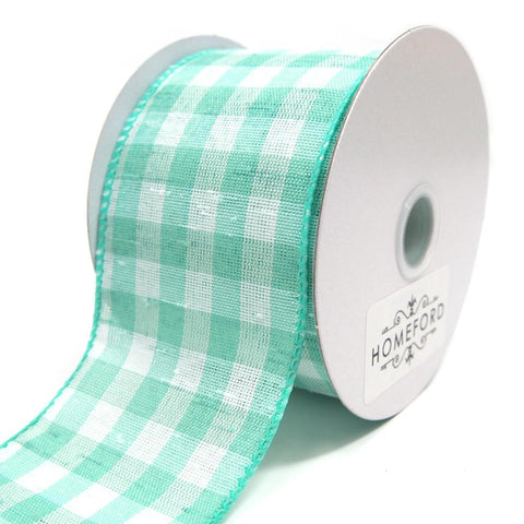 Colorful Gingham Checkered Linen Wired Ribbon, Aqua, 2-1/2-Inch, 10 Yards