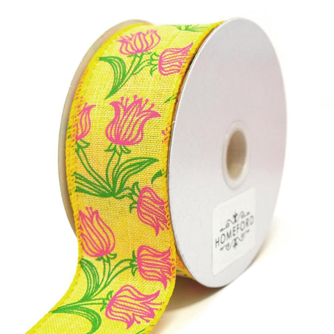Fuchsia Tulips Outline Linen Wired Ribbon, Yellow, 1-1/2-Inch, 10 Yards
