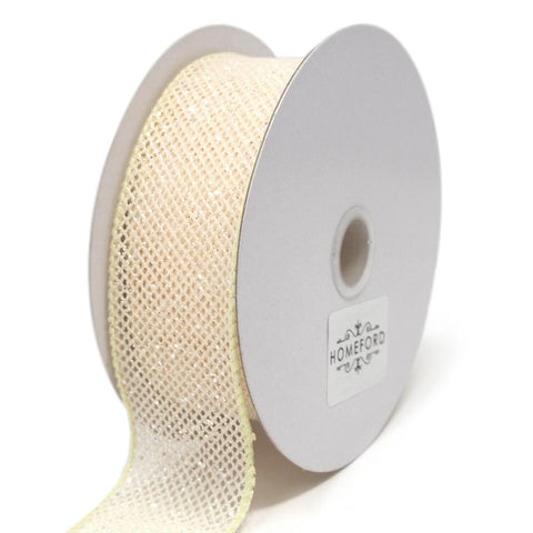 Frosted Net Wired Ribbon, Cream, 1-1/2-Inch, 10 Yards