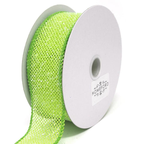Frosted Net Wired Ribbon, Kiwi, 1-1/2-Inch, 10 Yards