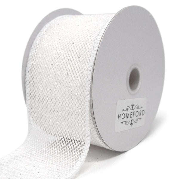 Frosted Net Wired Ribbon, White, 2-1/2-Inch, 10 Yards