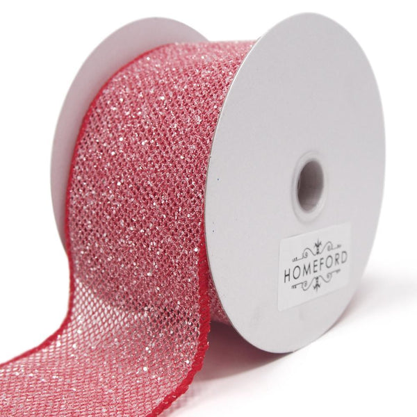 Frosted Net Wired Ribbon, Red, 2-1/2-Inch, 10 Yards