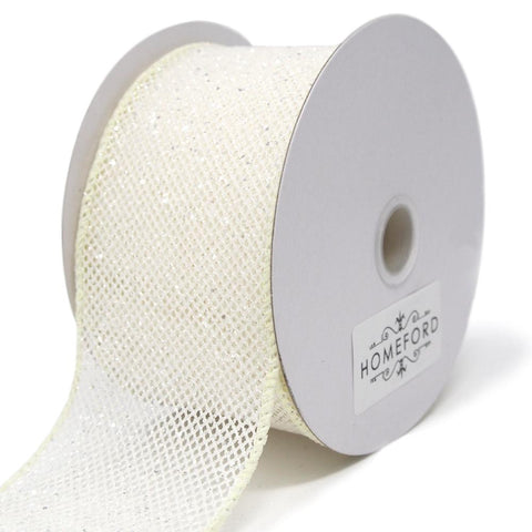 Frosted Net Wired Ribbon, Ivory, 2-1/2-Inch, 10 Yards
