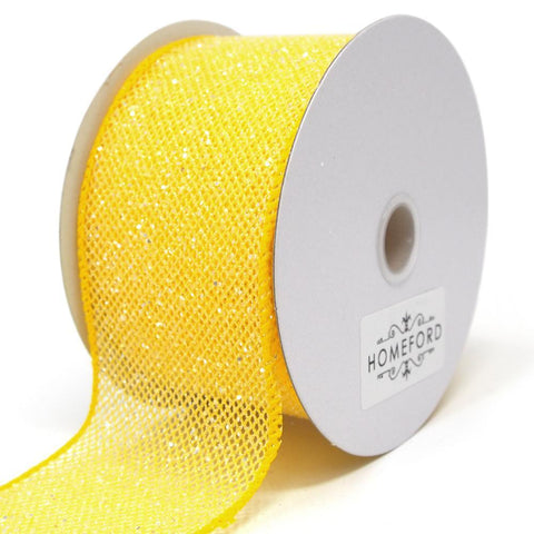 Frosted Net Wired Ribbon, Yellow, 2-1/2-Inch, 10 Yards