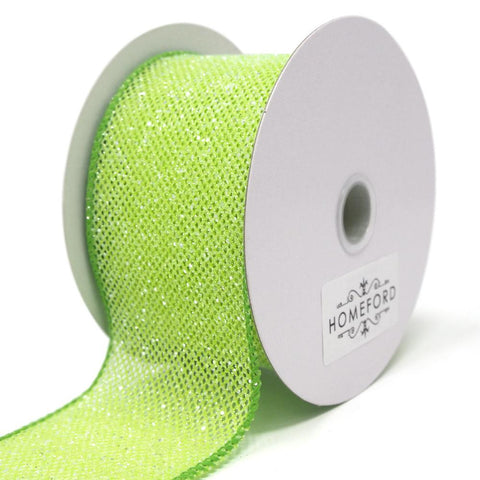 Frosted Net Wired Ribbon, Kiwi, 2-1/2-Inch, 10 Yards