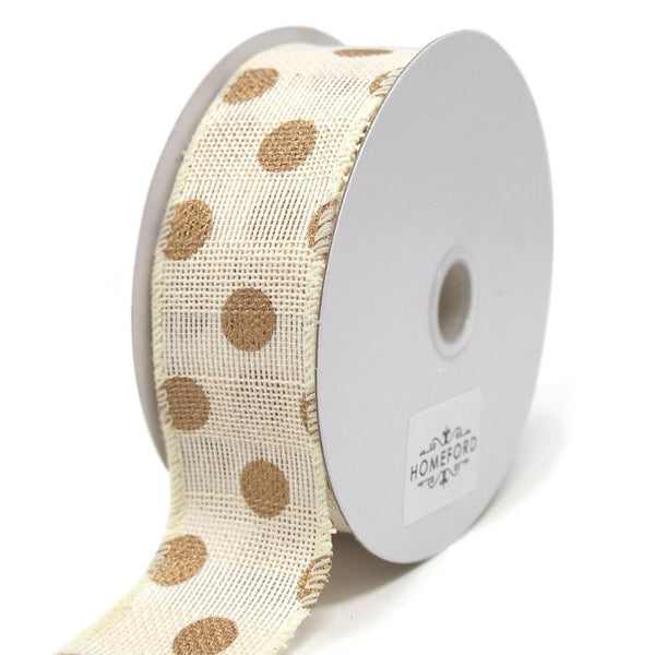 Gold Polka Dots Faux Burlap Wired Ribbon, Ivory, 1-1/2-Inch, 10 Yards