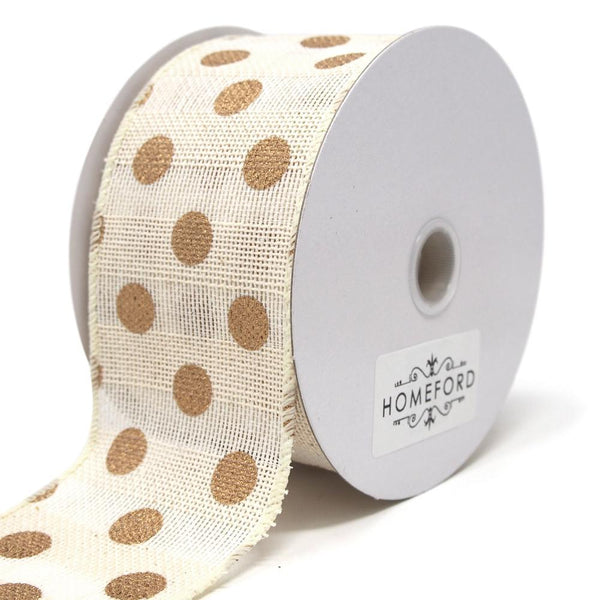 Gold Polka Dots Faux Burlap Wired Ribbon, Ivory, 2-1/2-Inch, 10 Yards