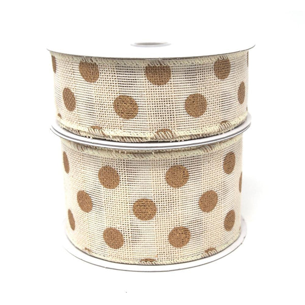 Gold Polka Dots Faux Burlap Wired Ribbon, Ivory, 10 Yards