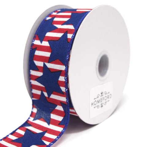 Big Blue Stars Red Striped Linen Wired Ribbon, 10 Yards