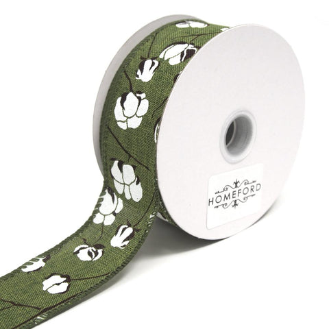 Cotton Boll Stems Linen Ribbon, Moss, 1-1/2-Inch, 10 Yards