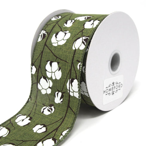 Cotton Boll Stems Linen Ribbon, Moss, 2-1/2-Inch, 10 Yards