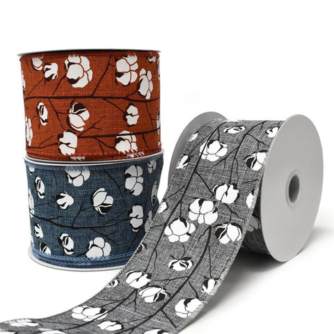 Cotton Boll Stems Linen Ribbon, 10 Yards