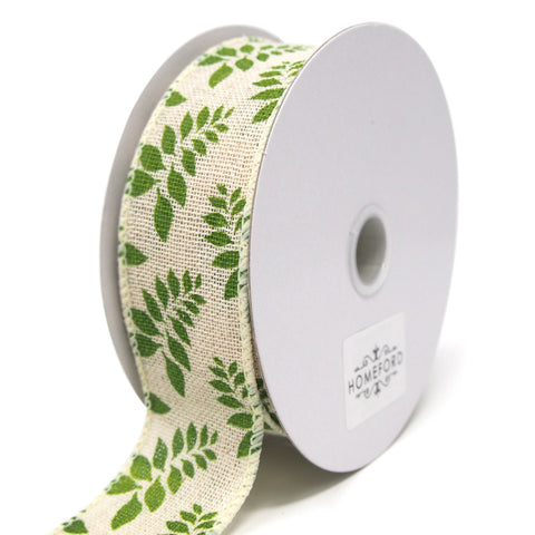 Fern Leaves Print Ivory Canvas Ribbon, 1-1/2-Inch, 10 Yards