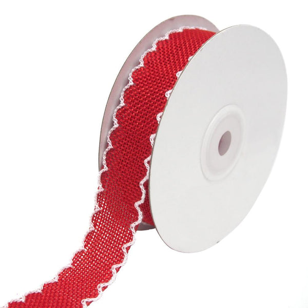Scalloped Edge Faux Jute Ribbon, Red, 1-Inch, 10-Yards