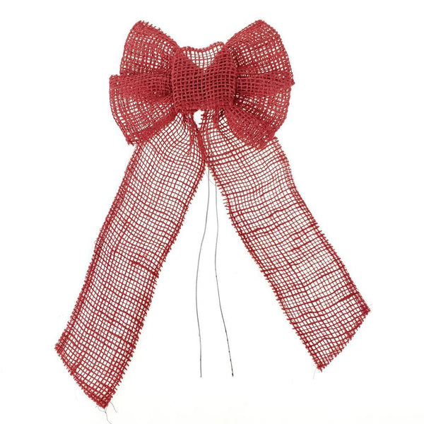 Natural Burlap Bow with Wire, Red, 10-Inch