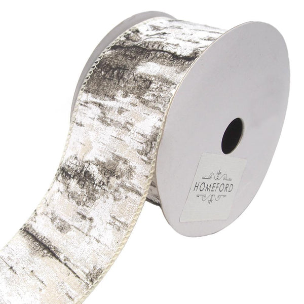 Birch Bark Wired Printed Cotton Ribbon, 2-1/2-Inch, 10-Yard