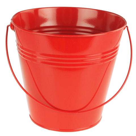 Metal Pail Buckets Party Favor, 7-inch, Red