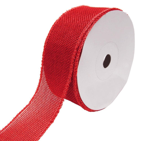 Loose Weave Faux Jute Ribbon, Red, 1-1/2-Inch, 10-Yards