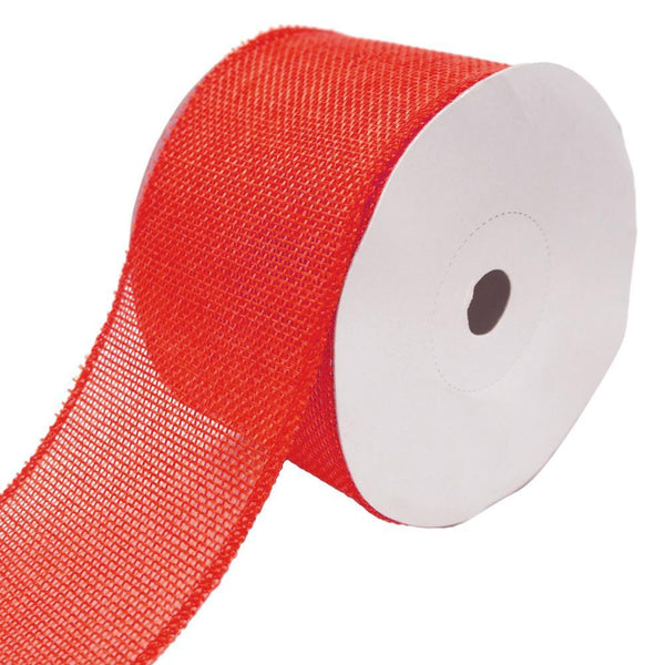 Loose Weave Faux Jute Ribbon, Red, 2-1/2-Inch, 10-Yards