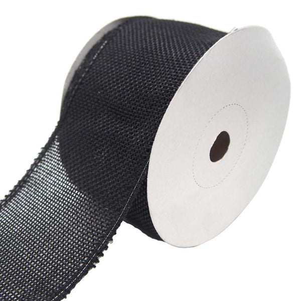 Loose Weave Faux Jute Ribbon, Black, 2-1/2-Inch, 10-Yards