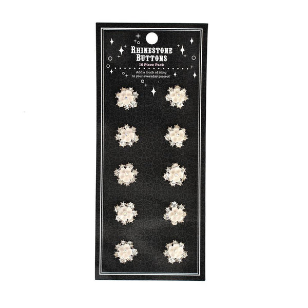 Floral Cluster Rhinestone Buttons, 10-Count