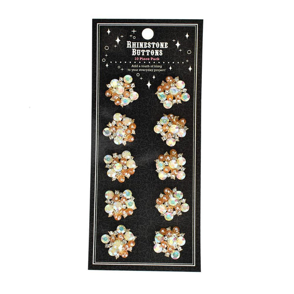 Mixed Rhinestone Gem Cluster Buttons, 10-Count