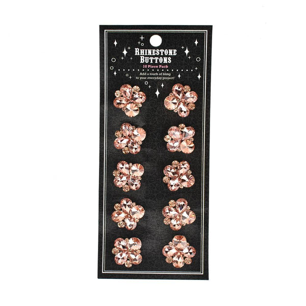 Mixed Cut Rhinestone Cluster Buttons, 10-Count