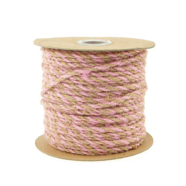 Bi-Colored Jute Twine Cord Rope Ribbon, 5/64-Inch or 2.5 mm, 50-Yard, Light Pink