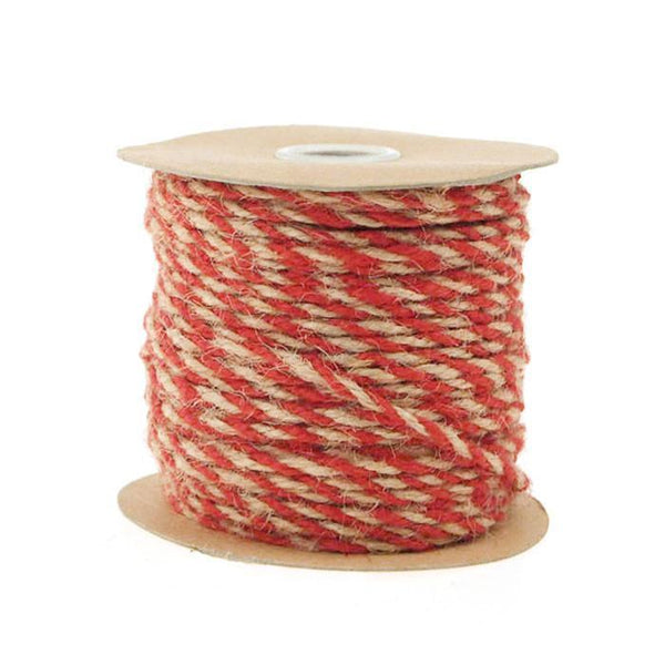 Bi-Colored Jute Twine Cord Rope Ribbon, 5/64-Inch or 2.5 mm, 50-Yard, Red