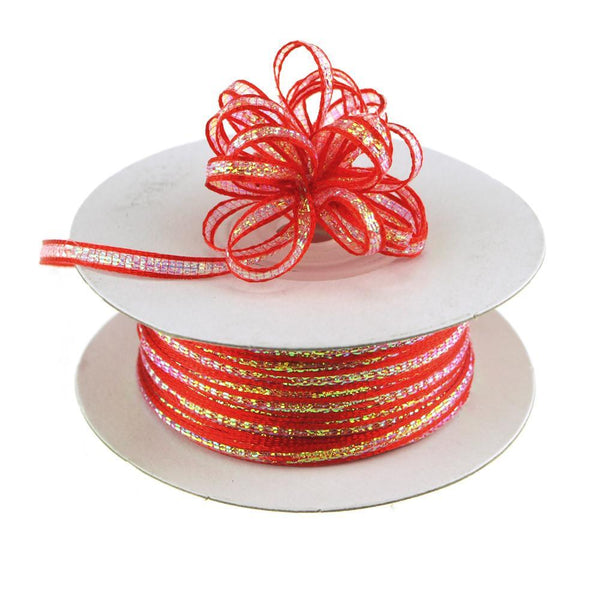 Iridescent Pull Bow Christmas Ribbon, 1/8-Inch, 50 Yards, Red