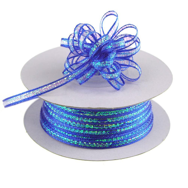 Iridescent Pull Bow Christmas Ribbon, 1/8-Inch, 50 Yards, Royal Blue