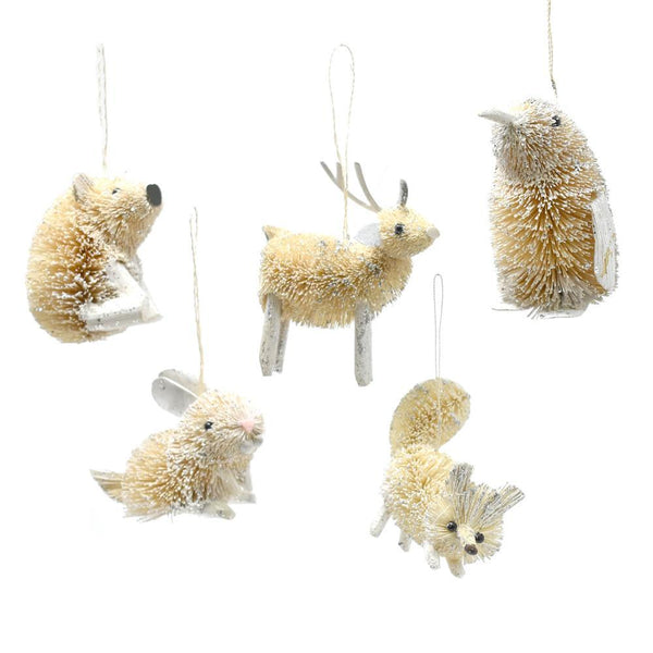 Buri Woodland Animal Christmas Ornaments, Ivory, 5-Piece