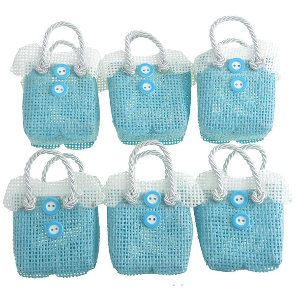 Mini Woven Favor Bags, Jumper, Blue, 2-3/4-Inch, 6-Piece