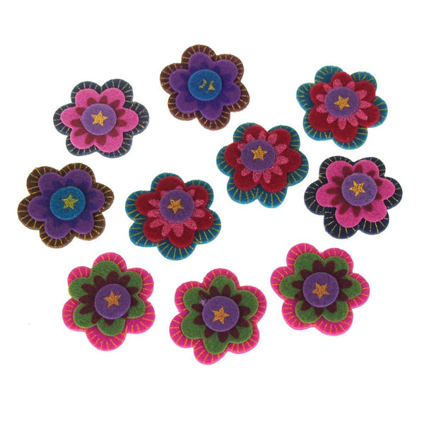 Self-Adhesive Boho Flowers Felt Die Cuts, 1-1/2-Inch, 10-Count