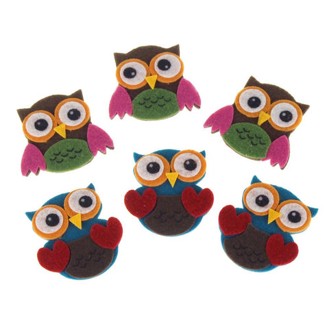 Self-Adhesive Boho Owls Felt Die Cuts, 1-3/4-Inch, 6-Count