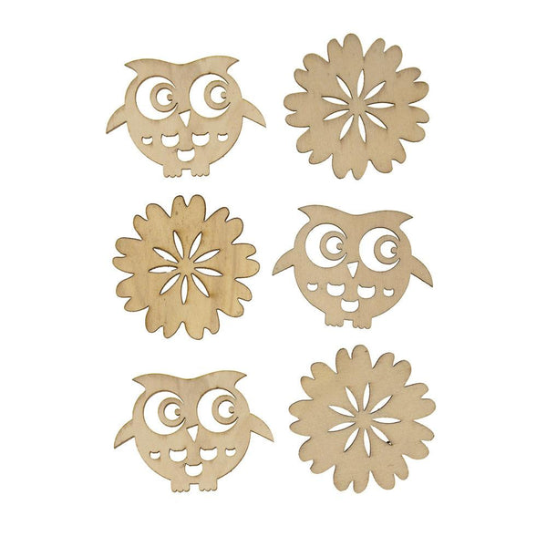 Owl Laser Cut Wooden Stickers, Natural, 2-Inch, 6-Count