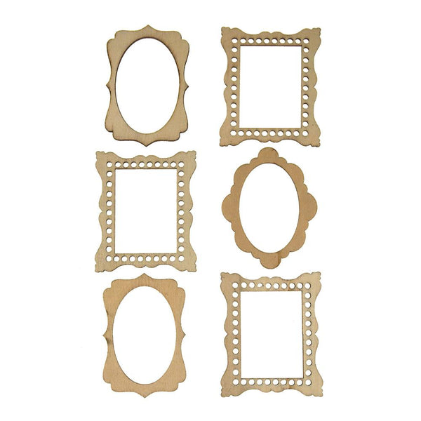 Frame Medley Laser Cut Wooden Stickers, Natural, 2-1/4-Inch, 6-Count