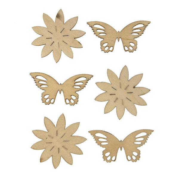 Butterfly Laser Cut Wooden Stickers, Natural,  2-1/4-Inch, 6-Count