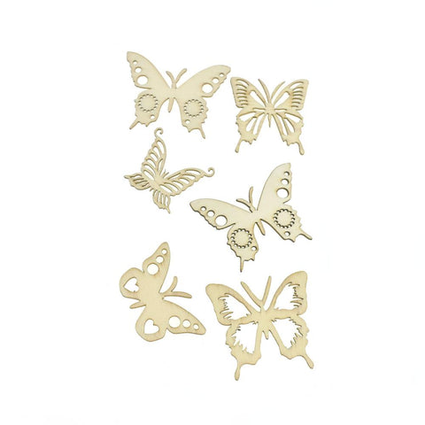 Butterflies Laser Cut Wooden Stickers,  2-Inch, 6-Piece