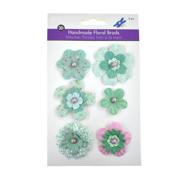 Paper Craft Floral Brads, 6-Piece, Delicate