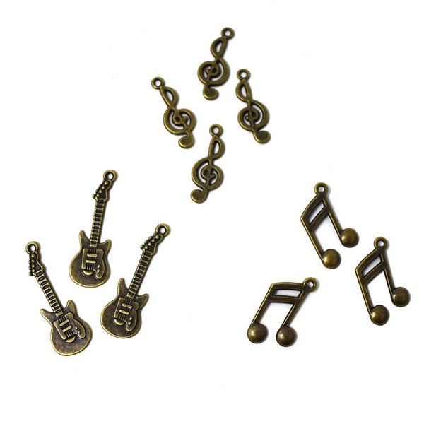 Antique Style Metal Charms, Melody, 10-Piece