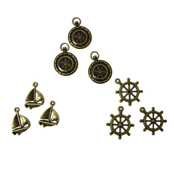 Antique Style Metal Charms, Nautical, 9-Piece