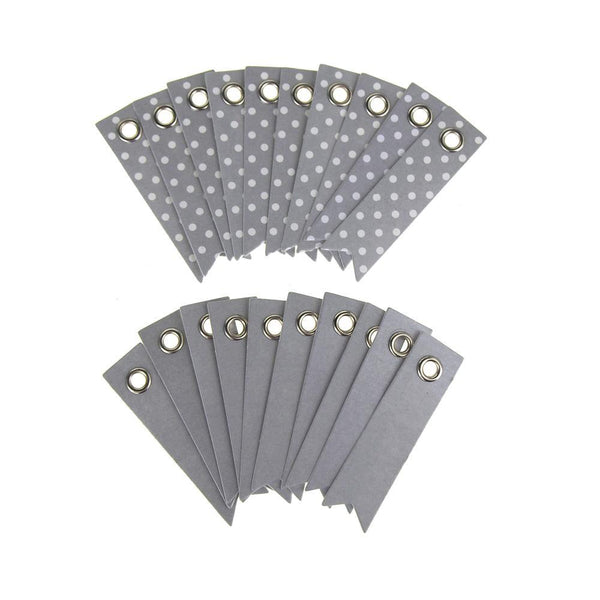 Polka Dot Paper Pennant Tags, Silver, 2-Inch, 20-Count
