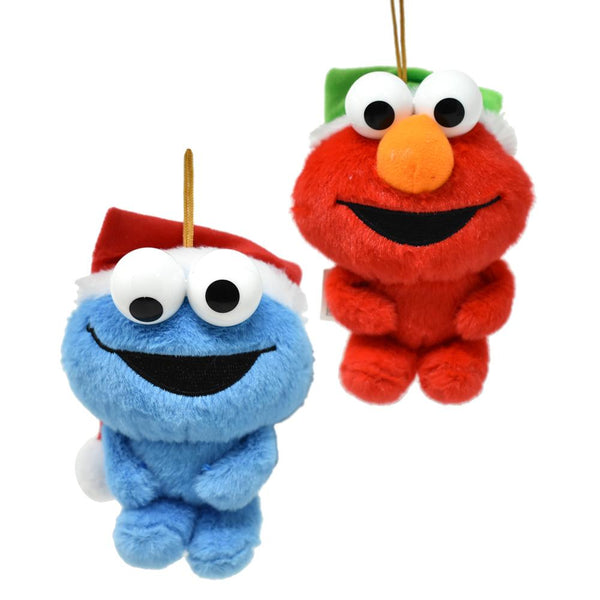 Hanging Plush Elmo and Cookie Monster with Santa Hat Christmas Ornament, 5-Inch, 2-Piece