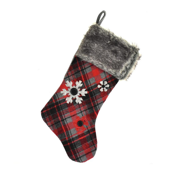 Hanging Felt Plaid Snowflake Christmas Stocking with Faux Fur Cuff, Red/Black, 18-inch