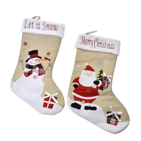 Santa & Snowman Linen Christmas Stocking, Natural, 20-Inch, 2-Piece