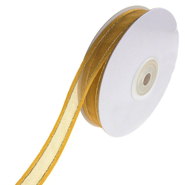 Gold-Lined Satin Edge Organza Ribbon, Antique Gold, 5/8-Inch, 25-Yard