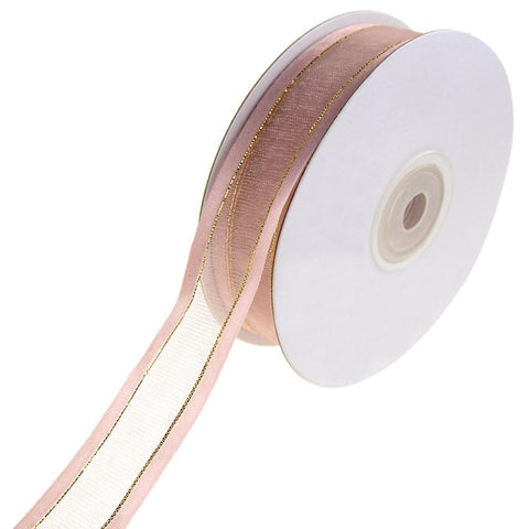 Gold-Lined Satin Edge Organza Ribbon, Blush, 7/8-Inch, 25-Yard